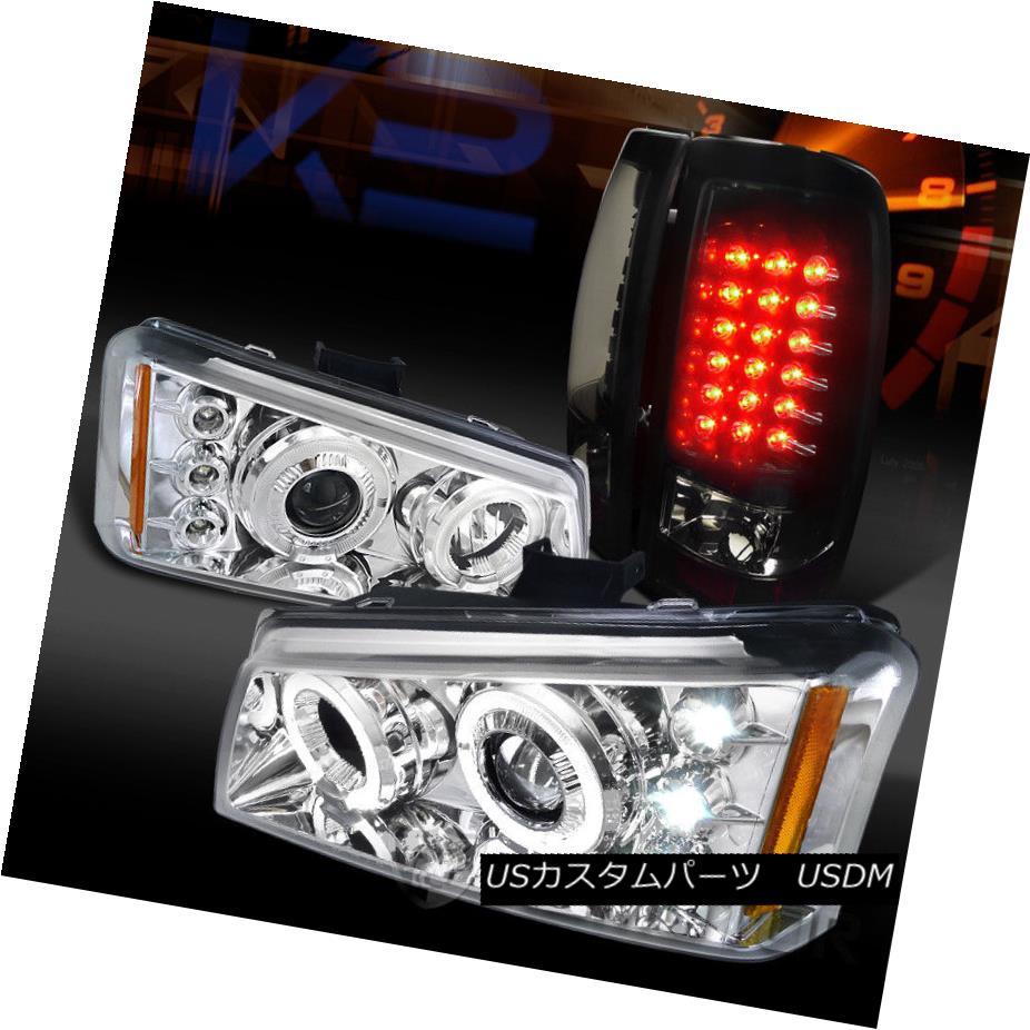 ヘッドライト 03-06 Silverado Chrome Halo Projector Headlights+Glossy Black LED Tail Lamps 03-06 Silverado Chrome Haloプロジェクターヘッドライト+グロー ssyブラックLEDテールランプ