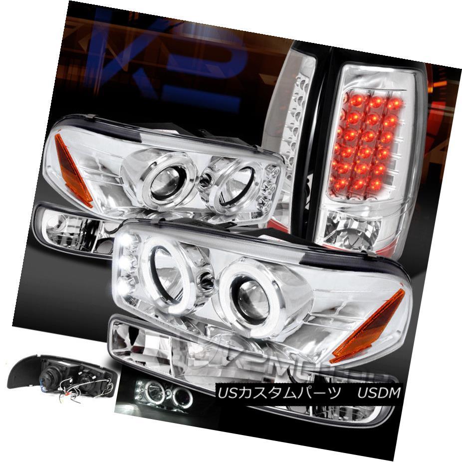 ヘッドライト 99-03 GMC SIERRA CHROME HALO PROJECTOR HEADLIGHTS+BUMPER+LED TAIL LIGHTS 99-03 GMC SIERRA CHROMEハロープロジェクターヘッドライト+ BUM  PER + LEDテールライト