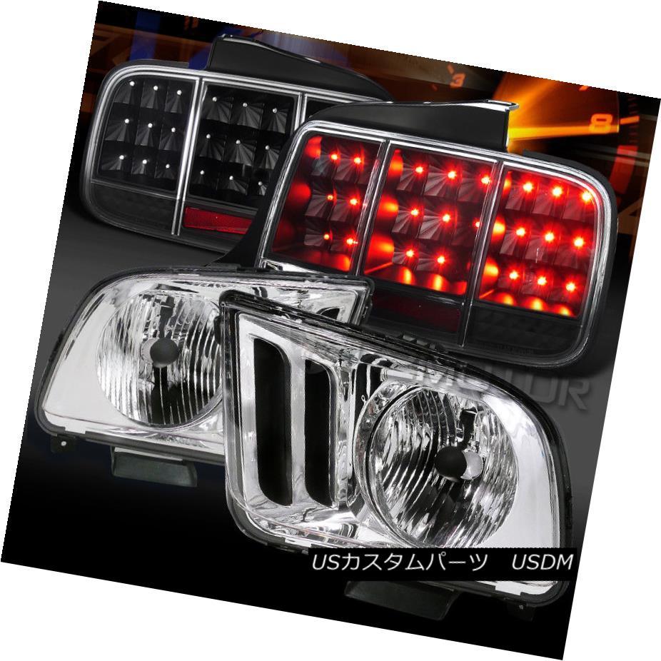 ヘッドライト 05-09 Mustang Chrome Headlights+Black Sequential LED Signal Tail Lights 05-09 Mustang Chromeヘッドライト+ Bla  ck連続LED信号テールライト