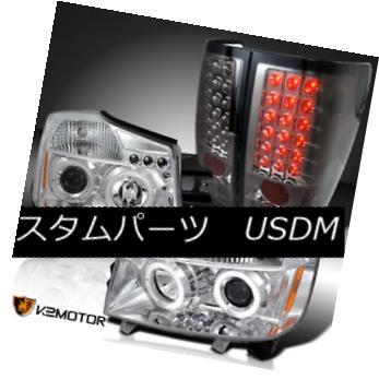 ヘッドライト For 04-13 Titan Chrome Halo Projector Headlights+Smoke LED Rear Tail Lamps 04-13 Titan Chrome Haloプロジェクターヘッドライト+ Smo  ke LEDリアテールランプ