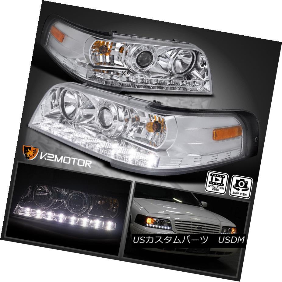 ヘッドライト 1998-2011 Ford Crown Victoria LED DRL Projector Headlights Left+Right 1998?2011年フォードクラウンビクトリアLED DRLプロジェクターヘッドライト左+右