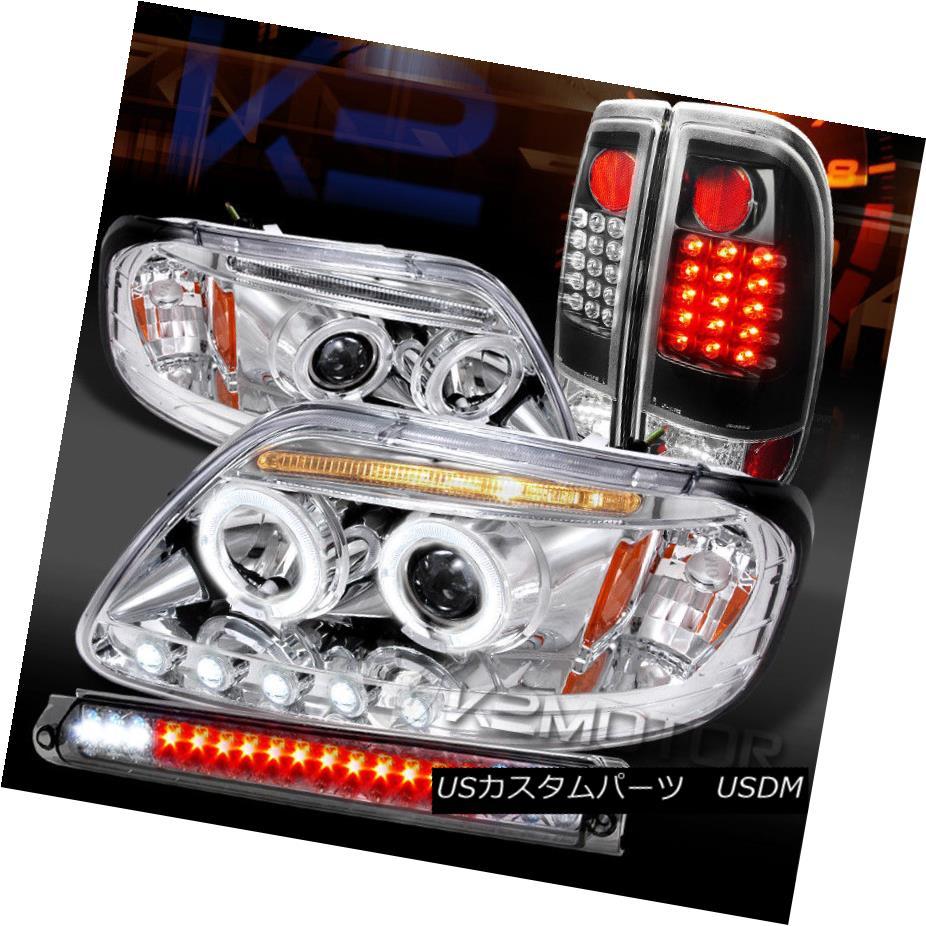 ヘッドライト 97-03 F150 Chrome Halo Projector Headlights+Smoke 3rd Brake+Black LED Tail Lamps 97-03 F150クロームハロープロジェクターヘッドライト+スモール ke 3rdブレーキ+ブラックLEDテールランプ