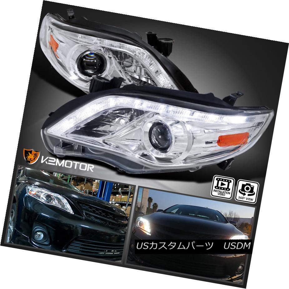 ヘッドライト For 2011-2013 Toyota Corolla Clear LED DRL Projector Headlights Lamps Pair トヨタカローラクリアLED DRLプロジェクターヘッドライトランプペア