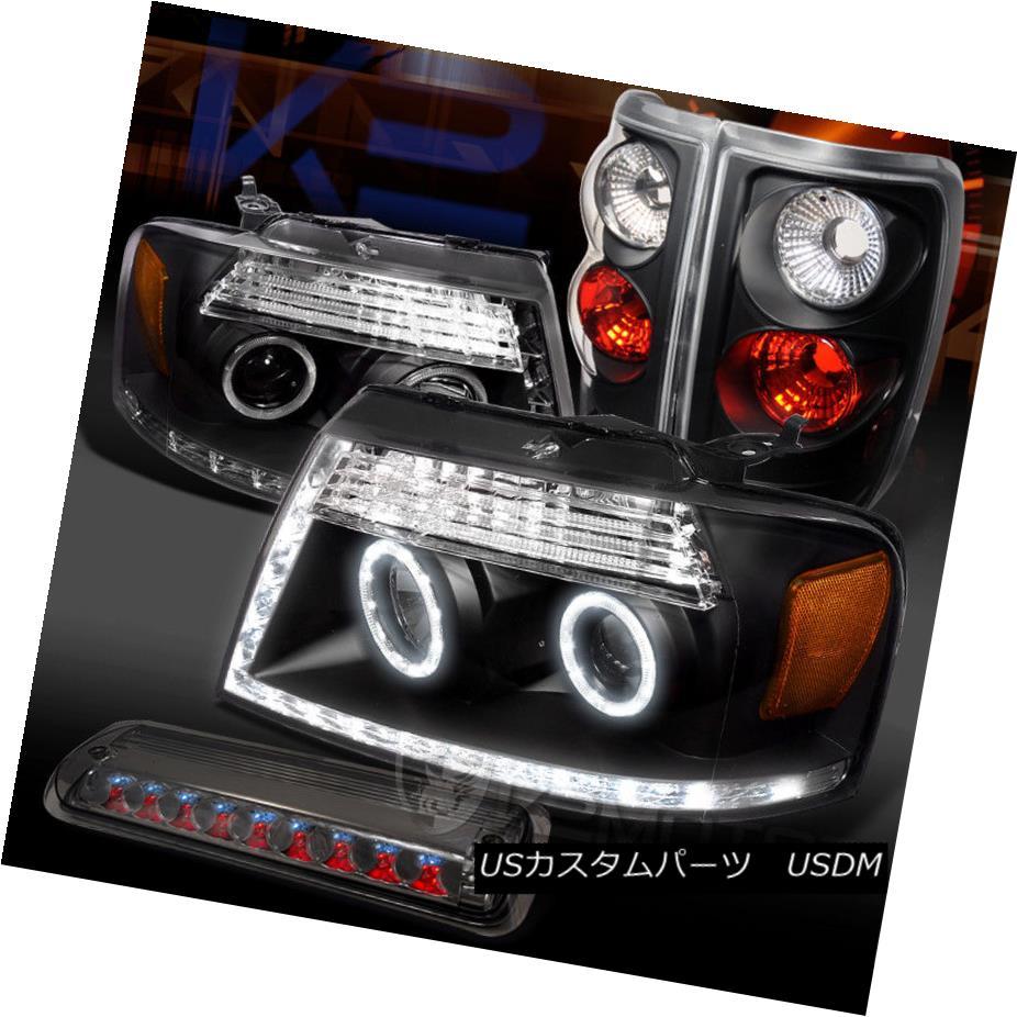 ヘッドライト 04-08 F150 Black LED Halo Projector Headlights+Tail Lamps+Smoke LED 3rd Brake 04-08 F150ブラックLEDハロープロジェクターヘッドライト+タイ lランプ+スモークLED第3ブレーキ