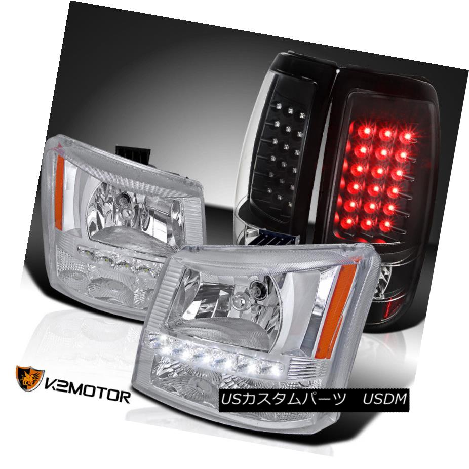 ヘッドライト 03-06 Silverado Clear SMD DRL Headlights Bumper Lamps+Black LED Tail Lights 03-06 Silverado Clear SMD DRLヘッドライトバンパーランプ+ブラックLEDテールライト