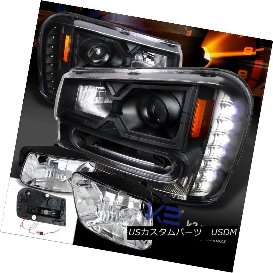ヘッドライト 02-09 Trailblazer Black Projector SMD LED Headlight+Clear Fog Driving Lamp 02-09トレイルブレイカー黒プロジェクターSMD LEDヘッドライト+クリーア rフォグランプ