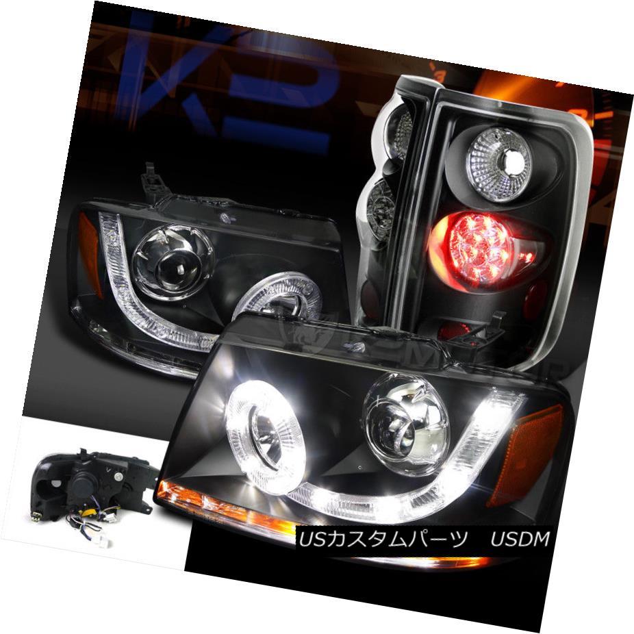 ヘッドライト 04-08 F150 Black SMD LED Halo DRL Signal Projector Headlights+LED Tail Lamps 04-08 F150ブラックSMD LEDハローDRL信号プロジェクターヘッドライト+ LEDテールランプ