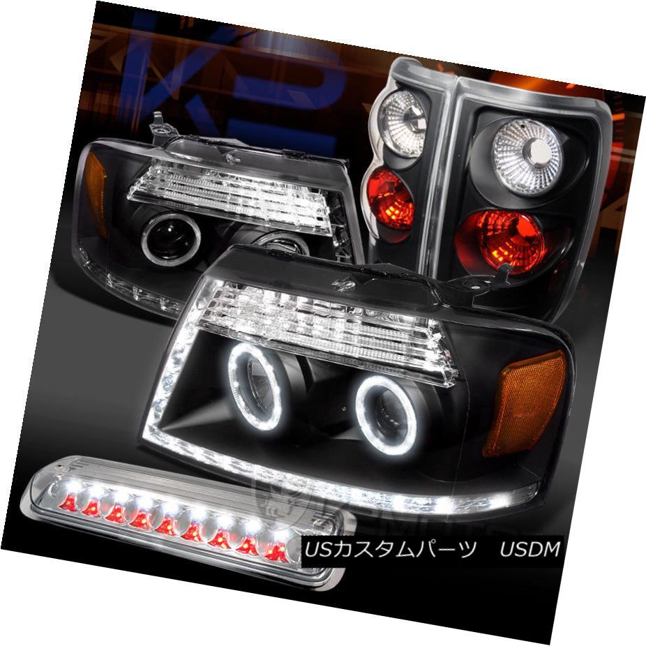 ヘッドライト 04-08 F150 Black LED Halo Projector Headlights+Tail Lamps+Clear 3rd Brake 04-08 F150ブラックLEDハロープロジェクターヘッドライト+タイ lランプ+クリア第3ブレーキ