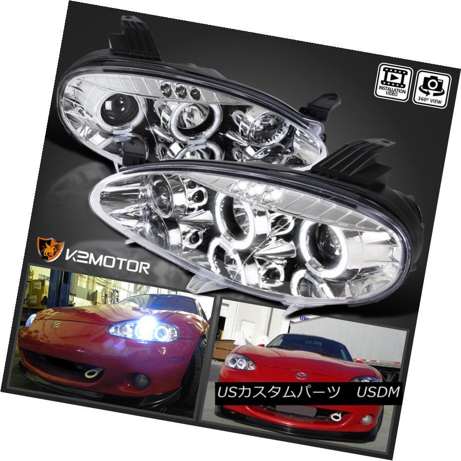 ヘッドライト 2001-2005 Mazda Miata MX5 Chrome LED Halo Projector Headlights 2001-2005マツダMiata MX5クロームLEDハロープロジェクターヘッドライト