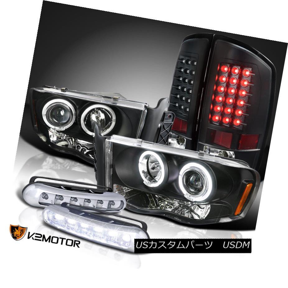 ヘッドライト Black 02-05 Dodge Ram Projector Headlights+LED Tail Lamp+LED Strip Fog DRL ブラック02-05ダッジラムプロジェクターヘッドライト+ LEDテールランプ+ LEDストリップフォグDRL