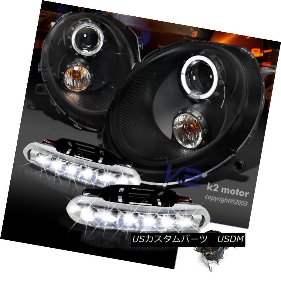 ヘッドライト Black 07-12 Mini Cooper Halo Projector Headlights W/LED DRL Driving Fog Lamps ブラック07-12ミニクーパーハロープロジェクターヘッドライトW / LED DRLドライビングフォグランプ