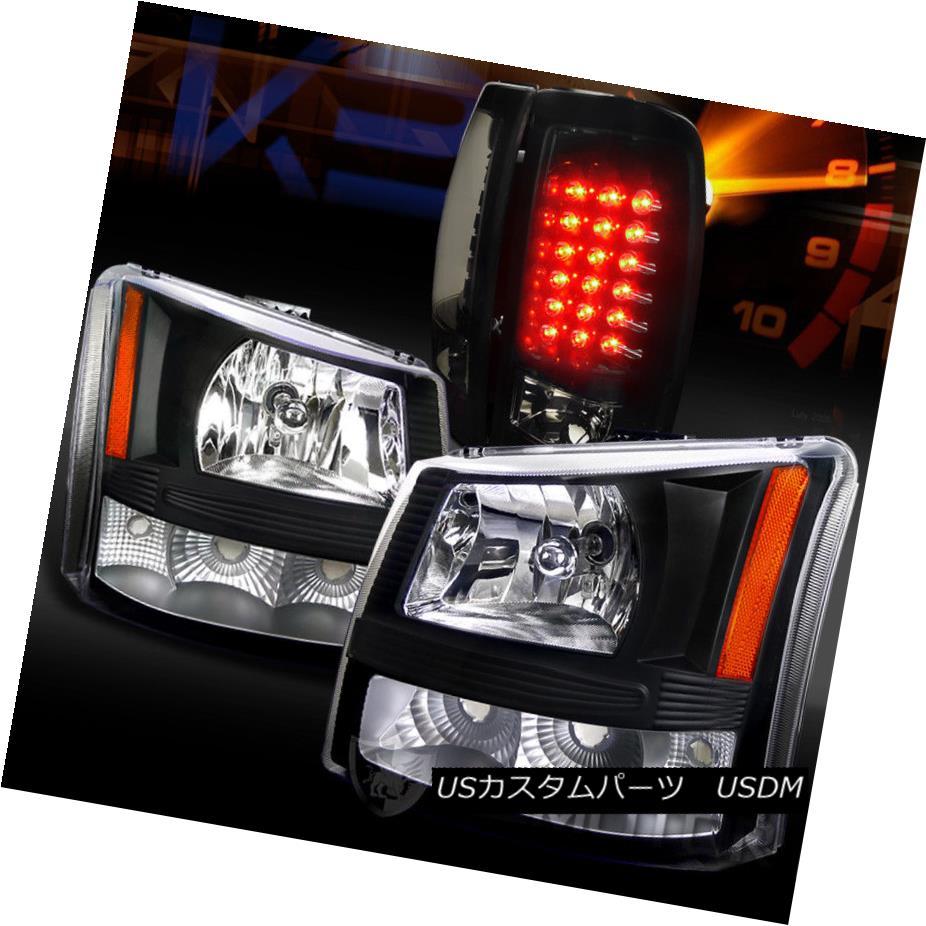 ヘッドライト 03-06 Silverado Pickup 1PC Style Black Headlights+Glossy Black LED Tail Lamps 03-06 Silveradoピックアップ1PCスタイルブラックヘッドライト+グロー ssyブラックLEDテールランプ