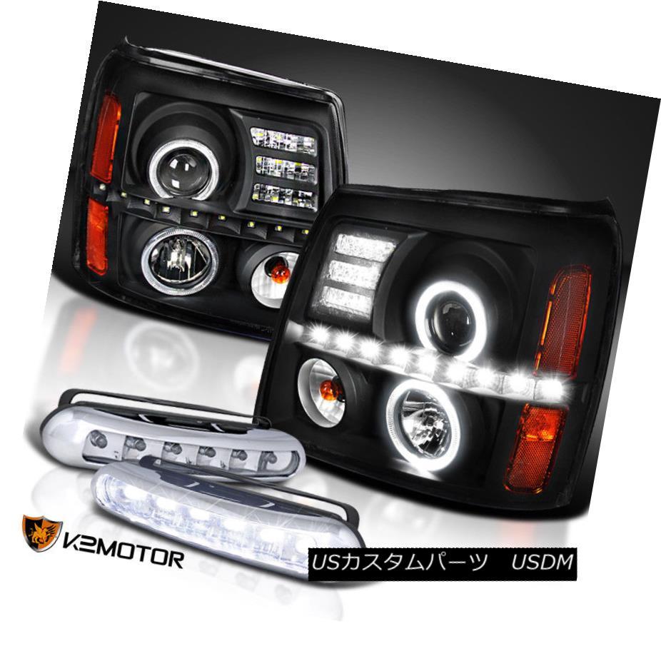 ヘッドライト Black 02-06 Escalade Twin Halo Projector Headlights+LED DRL Fog Lamps ブラック02-06エスカレードツインハロープロジェクターヘッドライト+ LED DRLフォグランプ