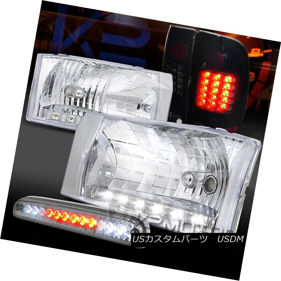 ヘッドライト 99-04 F250 LED DRL Clear Headlights+3rd Brake Light +Piano Black LED Tail Lamps 99-04 F250 LED DRLクリアヘッドライト+第3ブレーキライト+ピアノブラックLEDテールランプ
