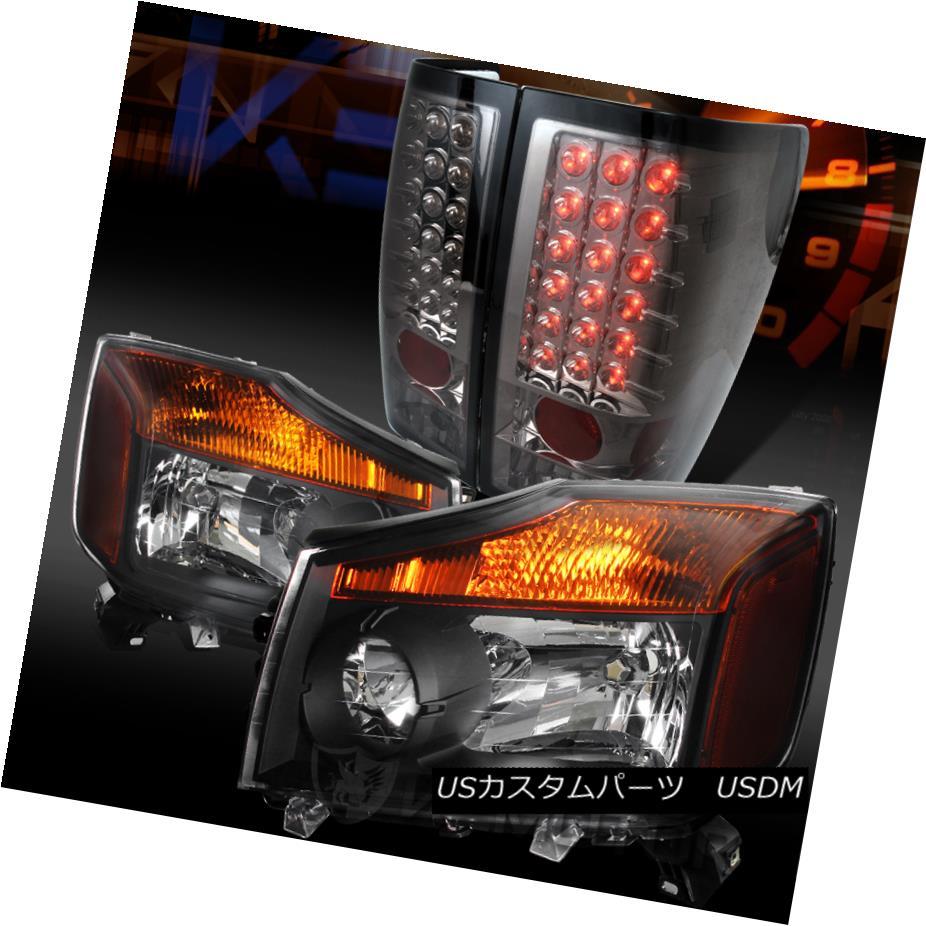 ヘッドライト Fit 04-13 Titan Pickup Crystal Black Headlights+Smoke LED Tail Lamps フィット04-13タイタンピックアップクリスタルブラックヘッドライト+スモール ke LEDテールランプ