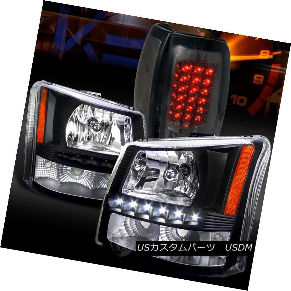 ヘッドライト 03-06 Silverado 1PC Black SMD DRL Headlight Bumper Lamp+Smoke LED Tail Lights 03-06 Silverado 1PCブラックSMD DRLヘッドライトバンパーランプ+スモークLEDテールライト