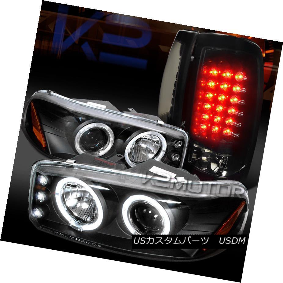 ヘッドライト 04-06 GMC Sierra Dual Halo Projector Headlights+Glossy Black LED Tail Lamps 04-06 GMC Sierraデュアルハロープロジェクターヘッドライト+グロー ssyブラックLEDテールランプ