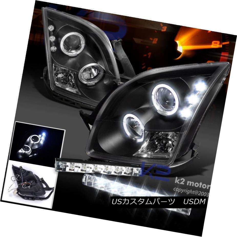 ヘッドライト 06-09 Ford Fusion Black Halo Projector Headlight+6-LED Fog Lights DRL Kit 06-09フォードフュージョンブラックハロープロジェクターヘッドライト+ 6-LE  DフォグライトDRLキット