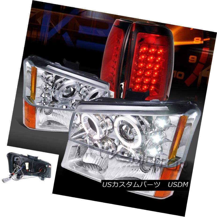 ヘッドライト 03-06 Silverado Chrome Projector Headlights+Bumper Lamps+Red LED Tail Lights 03-06 Silveradoクロームプロジェクターヘッドライト+バーン 、ランプごと+レッドLEDテールライト
