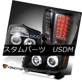 ヘッドライト Fit 04-13 Titan Black Halo Projector Headlights+Smoke LED Rear Tail Lamps フィット04-13タイタンブラックハロープロジェクターヘッドライト+スモール ke LEDリアテールランプ