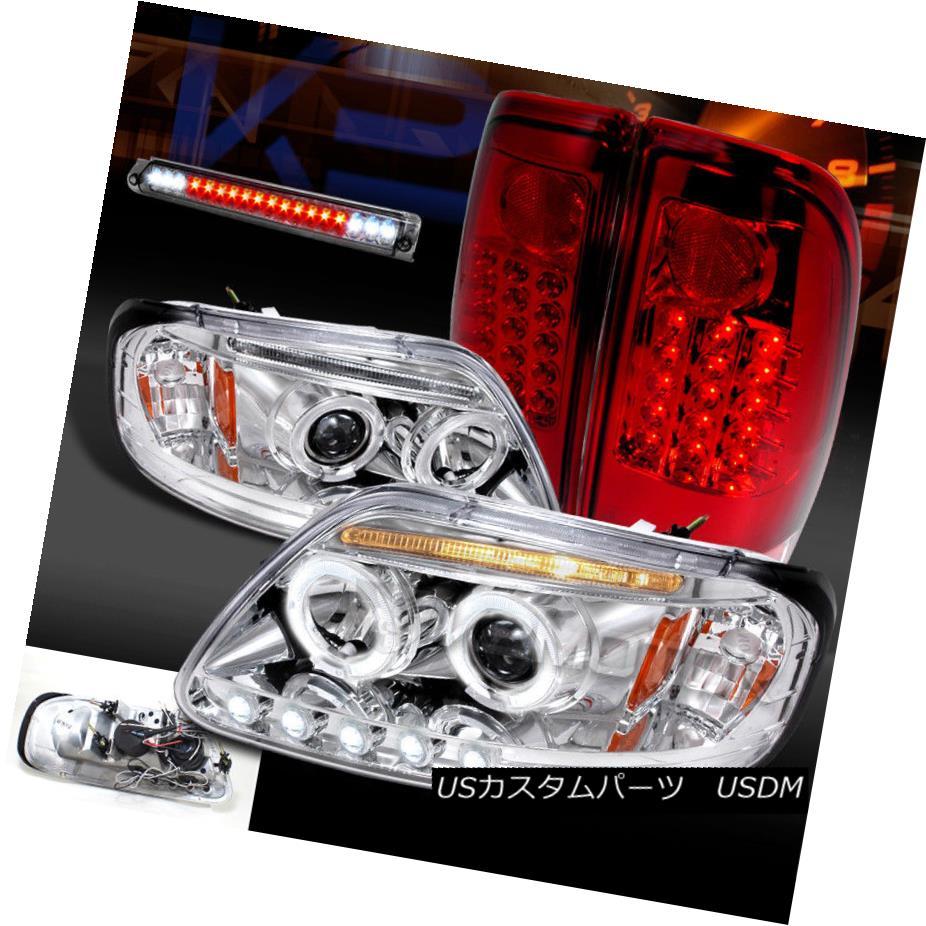 ヘッドライト 97-03 F150 Chrome Halo Projector Headlights+Red LED Tail Lamps+Smoke 3rd Brake 97-03 F150クロームハロープロジェクターヘッドライト+レッドLEDテールランプ+第3ブレーキ煙
