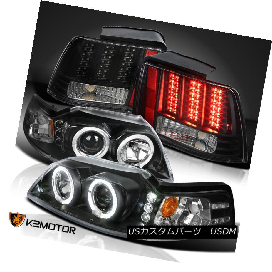 ヘッドライト Black 99-04 Mustang Dual Halo Projector Headlights+Sequential LED Tail Lights ブラック99-04ムスタングデュアルヘイロープロジェクターヘッドライト+ Seq uential LEDテールライト