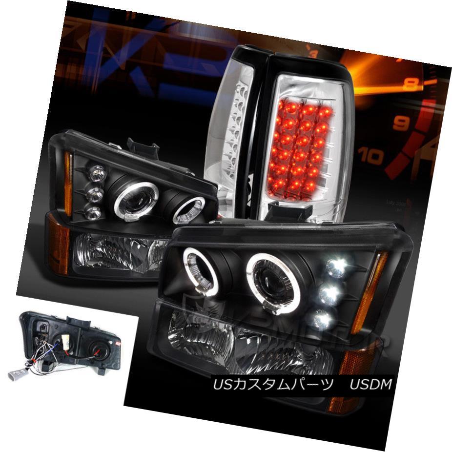 ヘッドライト 03-06 Silverado Black Projector Headlights+Bumper Lamps+Clear LED Tail Lights 03-06 Silverado Blackプロジェクターヘッドライト+ Bum ランプ/クリアLEDテールライト