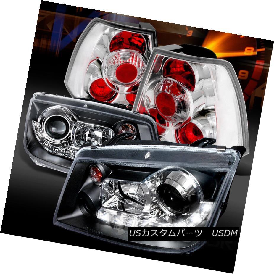 ヘッドライト Fit 99-04 Jetta Black R8 LED Loop Projector Headlights+Chrome Tail Lamps フィット99-04ジェッタブラックR8 LEDループプロジェクターヘッドライト+ Chr  omeテールランプ