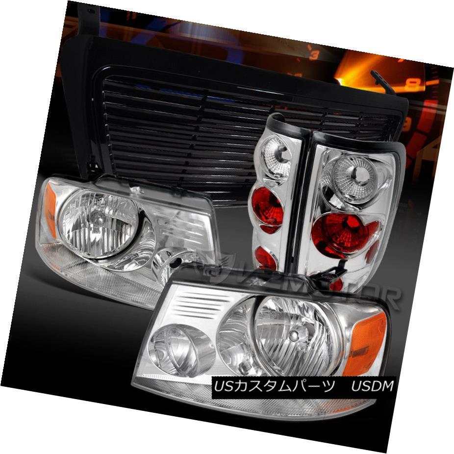 ヘッドライト 04-08 Ford F150 Euro Chrome Headlights+Tail Lamps+Black Hood Grille 04-08 Ford F150ユーロクロームヘッドライト+タイ lランプ+ブラックフードグリル