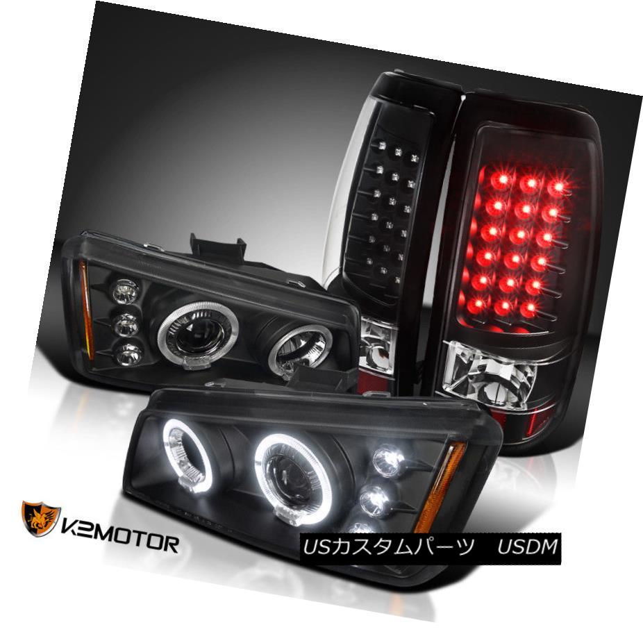 ヘッドライト 03-06 Silverado 1500 Black Dual Halo Projector Headlights+LED Rear Tail Lamps 03-06 Silverado 1500ブラックデュアルハロープロジェクターヘッドライト+ LEDリアテールランプ