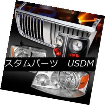 ヘッドライト 04-08 Ford F150 Chrome Headlights+Vertical Hood Grille+Black Tail Lamps 04-08 Ford F150クロームヘッドライト+ Ver ticalフードグリル+ブラックテールランプ