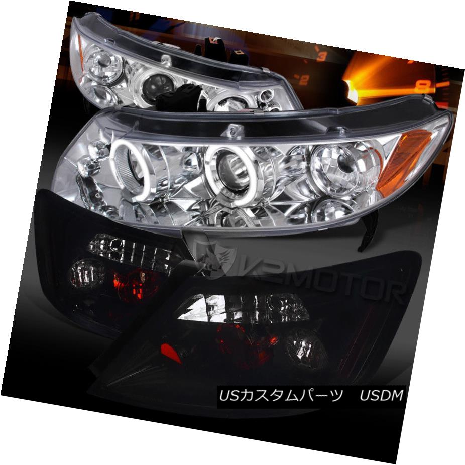 ヘッドライト For 06-11 Civic 2DR Chrome Halo LED Projector Headlights+Glossy Black Tail Lamps 06-11シビック2DRクロームハローLEDプロジェクターヘッドライト+グロー ssyブラックテールランプ