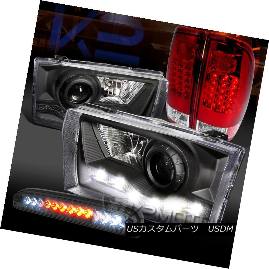 ヘッドライト 99-04 F250 SD Black SMD DRL Projector Headlight+Red Tail Lamps+LED 3rd Brake 99-04 F250 SDブラックSMD DRLプロジェクターヘッドライト+レッドテールランプ+ LED第3ブレーキ