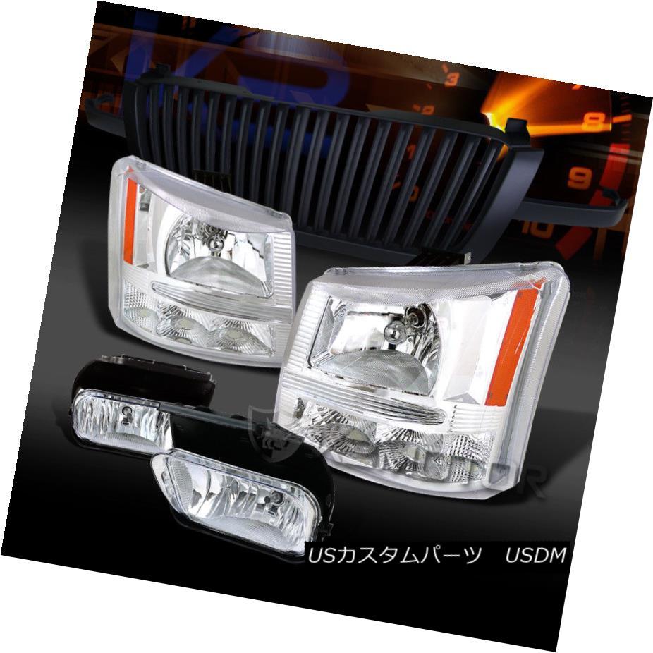 ヘッドライト 03-05 Silverado 1500 Chrome Headlights+Chrome Fog Lamps+Black Grille 03-05 Silverado 1500クロームヘッドライト+ Chr  omeフォグランプ+ブラックグリル