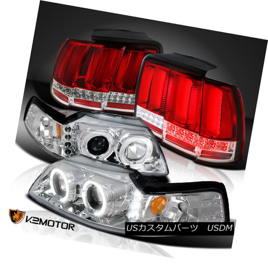 ヘッドライト Clear 99-04 Mustang Projector Headlights+Sequential LED Tube Tail Lights Red クリア99-04ムスタングプロジェクターヘッドライト+ Seq  uential LEDチューブテールライトレッド