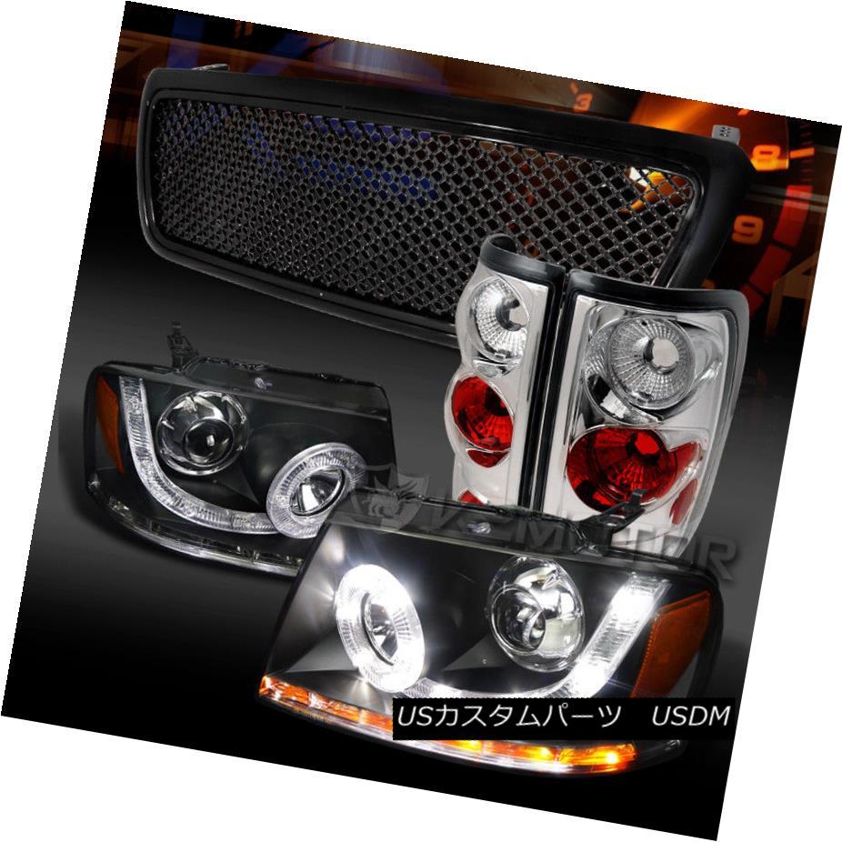 ヘッドライト 04-08 F150 Black LED Halo Signal Projector Headlights+Grille+Clear Tail Lamps 04-08 F150ブラックLEDハロー信号プロジェクターヘッドライト+グリル lle +クリアテールランプ