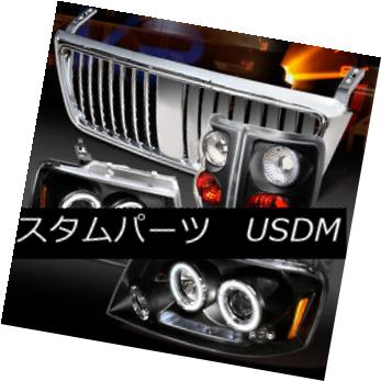 ヘッドライト 04-08 F150 Black Halo LED Projector Headlights+Tail Lamps+Chrome Grille 04-08 F150ブラックハローLEDプロジェクターヘッドライト+タイ lランプ+クロームグリル