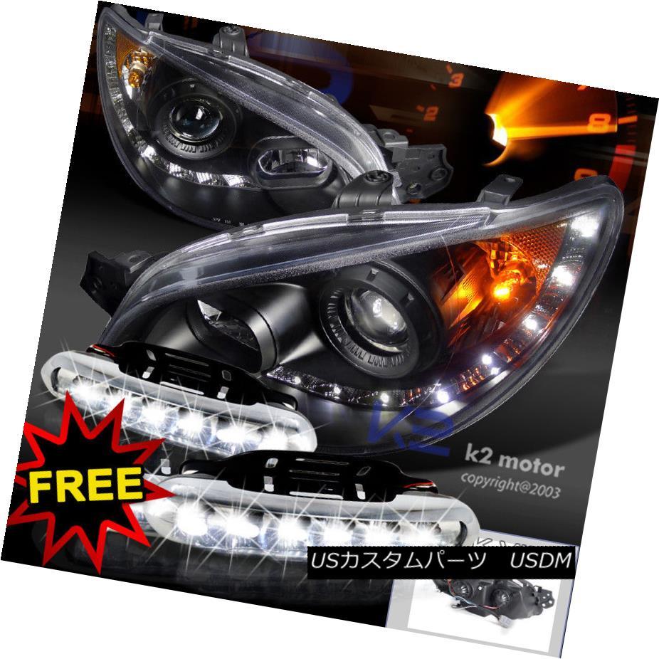 ヘッドライト For 06-07 Impreza WRX R8 Style Projector Black Headlights+LED DRL Fog Lamps 06-07インプレッサWRX R8スタイルプロジェクター用ブラックヘッドライト+ LED DRLフォグランプ
