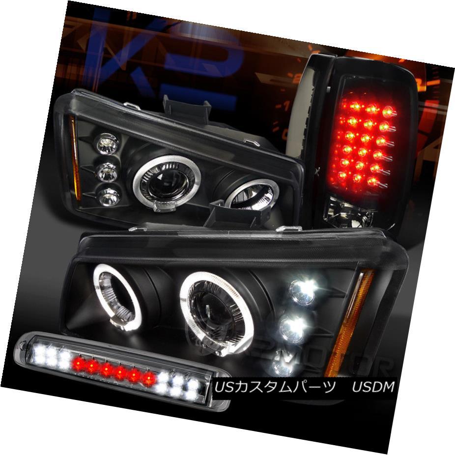 ヘッドライト 03-06 Silverado Halo Projector Headlights+3rd Stop Piano Black LED Tail Lamps 03-06 Silverado Haloプロジェクターヘッドライト+ 3ストップピアノブラックLEDテールランプ