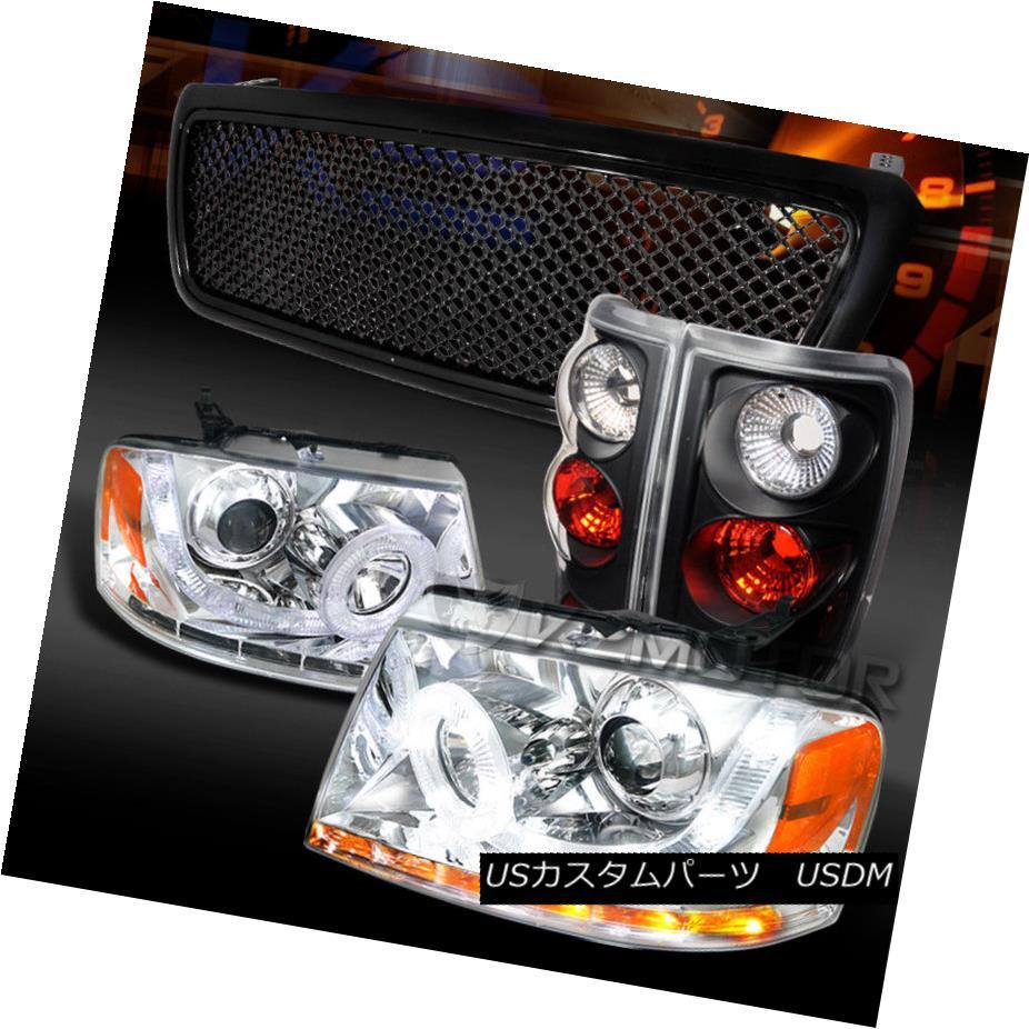 ヘッドライト 04-08 F150 Chrome LED Halo Signal Projector Headlights+Black Tail Lamps+Grille 04-08 F150クロームLEDハロー信号プロジェクターヘッドライト+ Bla  ckテールランプ+グリル