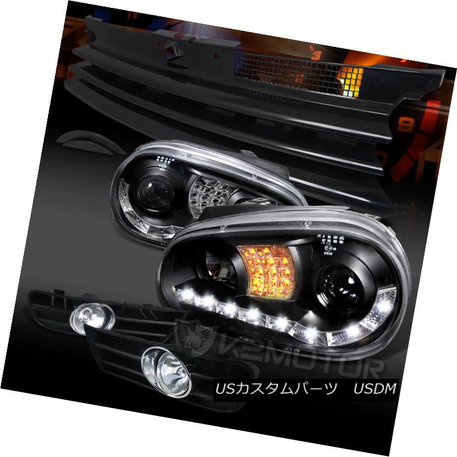 ヘッドライト For 99-04 VW Golf Black LED DRL Projector Headlights+Grille+Clear Fog Lamps 99-04 VWゴルフブラックLED DRLプロジェクターヘッドライト+グリル lle +クリアフォグランプ