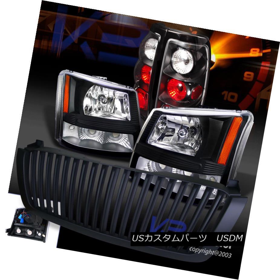 ヘッドライト 03-05 Silverado 1PC Black Crystal Headlights+Bumper+Hood Grille+Tail Light 03-05シルバード1PCブラッククリスタルヘッドライト+バーン +フードグリル+テールライト