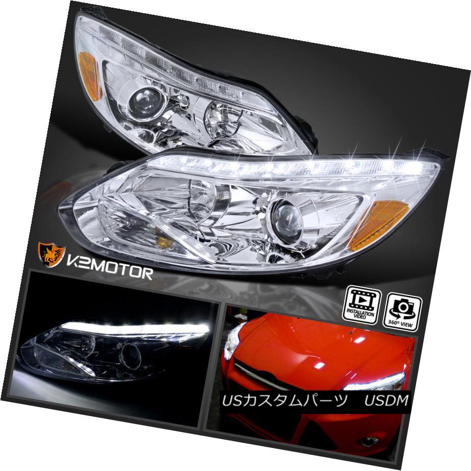 ヘッドライト 2012-2014 Ford Focus LED Signal DRL Strip Bar Projector Headlights Left+Right 2012-2014フォードフォーカスLED信号DRLストリップバープロジェクターヘッドライト左+右
