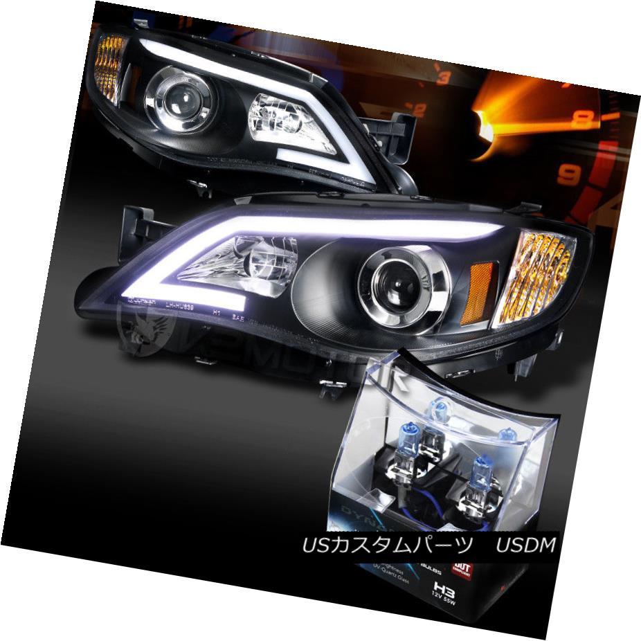 ヘッドライト For 08-14 Impreza WRX Black LED DRL Projector Headlights+H3 Halogen Bulbs 08-14インプレッサWRXブラックLED DRLプロジェクターヘッドライト+ H3ハロゲン電球