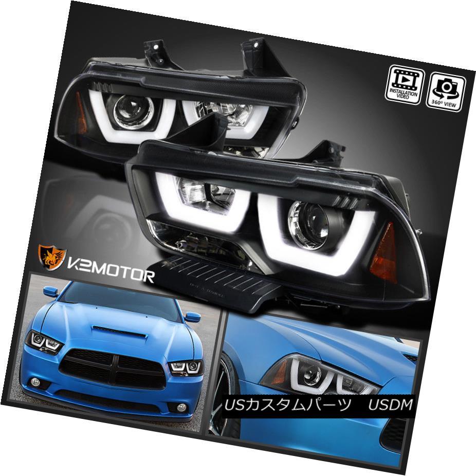 ヘッドライト 2011-2014 Dodge Charger Black Dual Halo LED DRL Strip Projector Headlights 2011-2014ダッジチャージャブラックデュアルハローLED DRLストリッププロジェクタヘッドライト