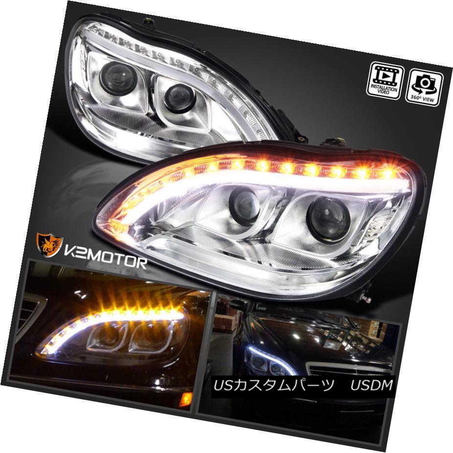 ヘッドライト 1998-2006 Mercedes Benz W220 S-Class Upper LED DRL Signal Projector Headlights 1998年?2006年Mercedes Benz W220 SクラスUpper LED DRLシグナルプロジェクターヘッドライト