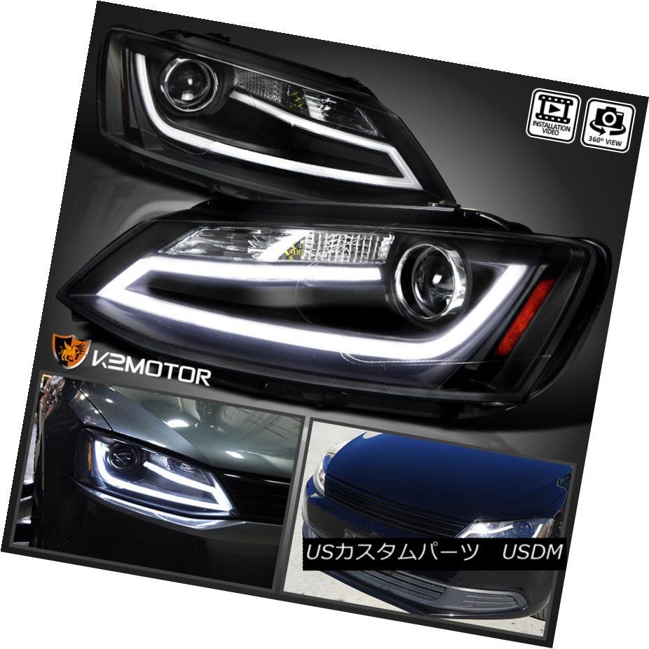 ヘッドライト Fit 11-14 VW Jetta MK6 Euro Black Projector Headlights+LED DRL Light Bar フィット11-14 VWジェッタMK6ユーロブラックプロジェクターヘッドライト+ LED DRLライトバー