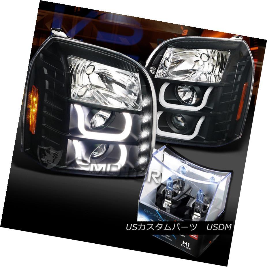 ヘッドライト 07-12 Yukon Denali Black Halo LED DRL Signal Projector Headlight+H1 Halogen Bulb 07-12ユーコンデナリブラックハローLED DRLシグナルプロジェクターヘッドライト+ H1ハロゲンバルブ
