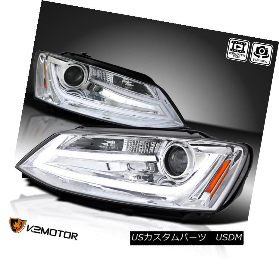 ヘッドライト Fit 11-14 VW Jetta MK6 Chrome Clear Projector Headlights+LED DRL Light Bar フィット11-14 VWジェッタMK6クロムクリアプロジェクターヘッドライト+ LED DRLライトバー