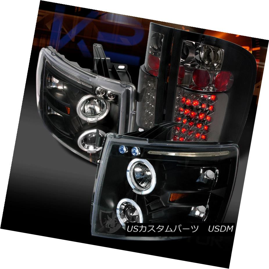 ヘッドライト 07-14 Chevy Silverado 1500 Black Halo Projector Headlights+Smoke LED Tail Lamps 07-14 Chevy Silverado 1500 Black Haloプロジェクターヘッドライト+スモーキー ke LEDテールランプ